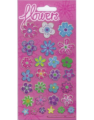 Pretty Flowers Sparkle Stickers