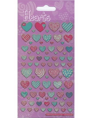 Pattern Hearts Sparkle Stickers