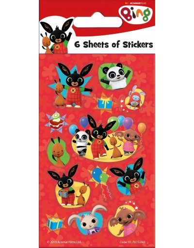 Bing Party Sticker Pack - 6 sheets