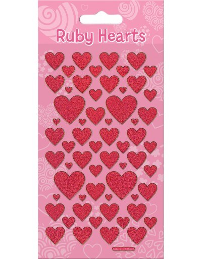 Ruby Hearts Sparkle Stickers