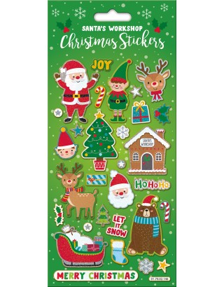 Santa's Workshop Large Foiled Sticker Pack