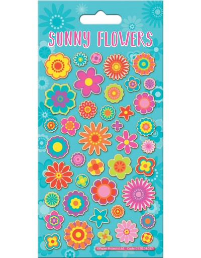 Sunny Flowers Sparkle Stickers