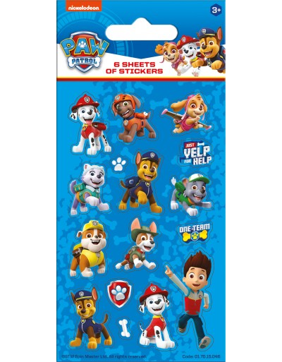 Paw Patrol Blue Party Sticker Pack - 6 sheets