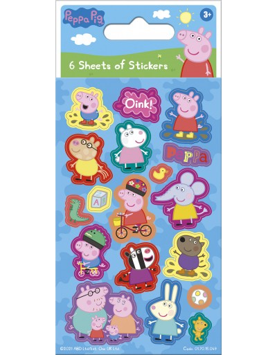 Peppa Pig Blue Party Sticker Pack - 6 sheets