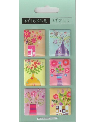 Flowers in Vases Craft Stickers