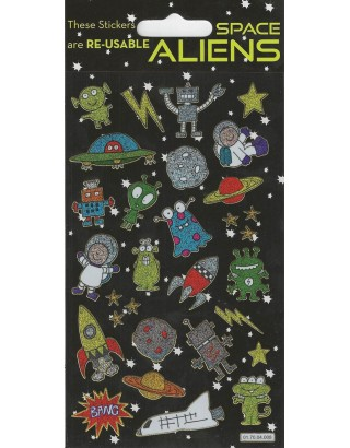 Aliens Sparkle Stickers