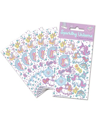 Unicorns Party Sticker Pack - 6 sheets